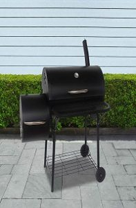 ALEKO Portable Charcoal BBQ Offset Smoker Grill with Side Fire Box - Black