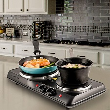 Ovente 1700W Double Hot Plate Electric Countertop